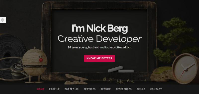 berg creative resume template wrapbootstrap