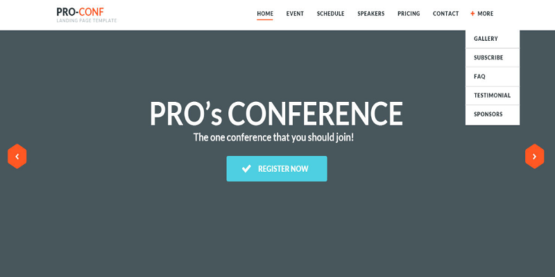 Proconf Event Landing Page
