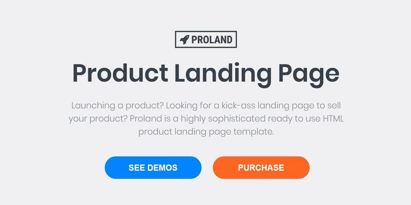 Unbounce Product landing Page Template - Proland