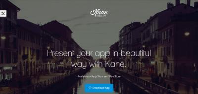 Kane - Responsive App Landing Page + Builder