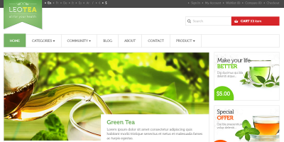 Leo Tea Prestashop 1.6 & 1.7 Theme for Tea - Drink - Restaurant - Food