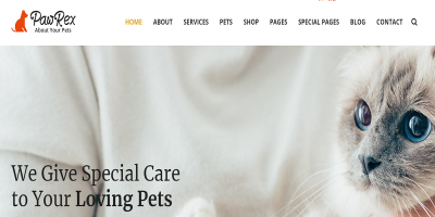 Pawrex: Pet Sitter, Groomer and Animal Shelter Html5 RTL Template