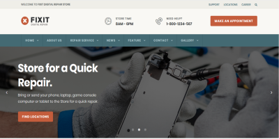 Phone, Computer Repair Shop Website Template - Fixit