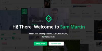 Sam Martin - Personal vCard Resume HTML Template