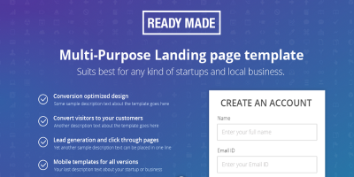 Unbounce Landing Page Template - Readymade